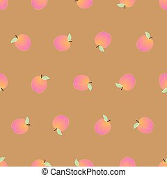 Peach Seamless on Brown Background. Vector Illustration