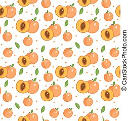 Peach seamless pattern. Apricot endless background, texture. Fruits backdrop. Vector illustration.