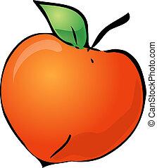 Peach - Sketch of a peach. Hand-drawn lineart look ...