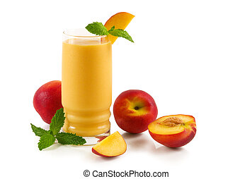 A glass of peach smoothie on white