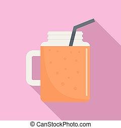 Peach smoothie icon, flat style