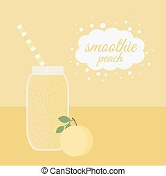 Peach smoothie in jar on a table