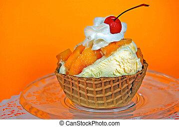 peach sundae in waffle bowl