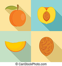 Peach tree slices fruit half icons set, flat style