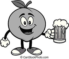 Peach with a mug of Beer Illustration