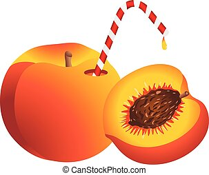 Peach with Straw - Scalable vectorial image representing a...