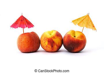 Peaches and cocktail umbrellas