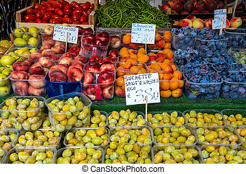 Peaches, grapes and other fruits
