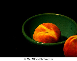 Peaches in Bowl - Peaches in turquoise bowl painted with ...