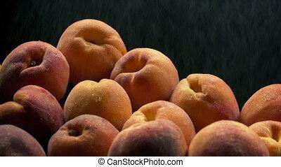 Peaches In Fine Water Spray - Juicy ripe peaches in fine...