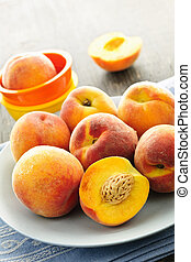 Peaches on plate