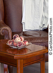 Peaches on the coffee table