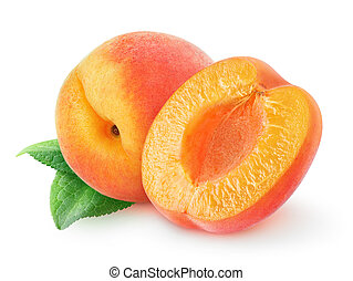 One and a half peaches over white background with clipping path