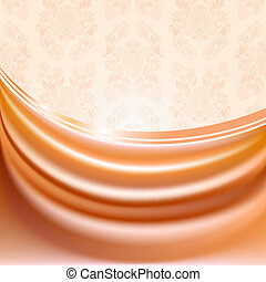 Peachy curtain, silk tissue on beige background