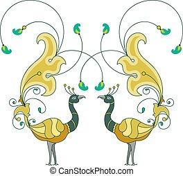Peacock Artistic Hand Drawn