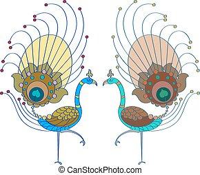 Peacock Artistic Hand Drawn Vector Art