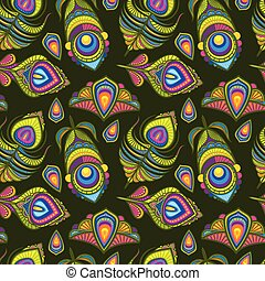 Peacock bird feathers vector indian traditional seamless pattern
