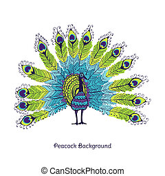 Peacock Card - in vector