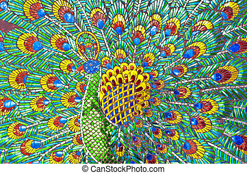 peacock., coloré, vitraux