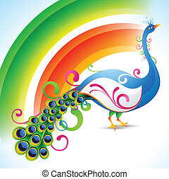 peacock design - vector peacock design with rainbow style...