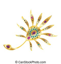 Peacock feather gold brooch with precious stones