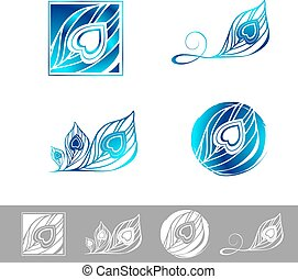 Peacock Feather Logo Design Set - Illustration of Peacock...