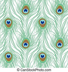 Peacock feather seamless pattern