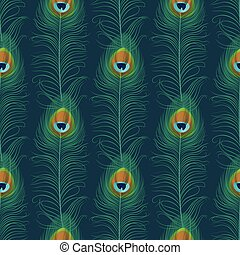 Peacock feather seamless pattern. Exotic ornament background