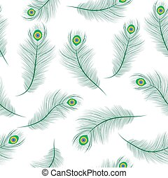 Peacock feather seamless texture, peacock feathers background. Feathers of a peacock wallpaper. Vector illustration.