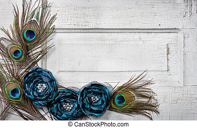 Peacock feathers and flowers on vintage door - Peacock ...