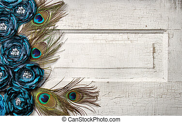 Peacock feathers and flowers on vintage door - Peacock...