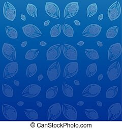 Peacock feathers on blue background. Vector illustration.