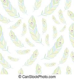 Peacock Feathers Seamless Pattern Vector Illustration.