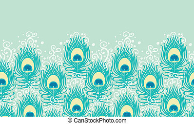 Peacock feathers vector horizontal seamless pattern border...