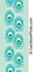 Peacock feathers vector vertical seamless pattern border -...