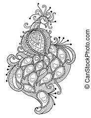 Peacock for coloring book page - Lines art design of...