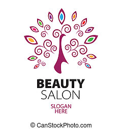 peacock logo for beauty salon
