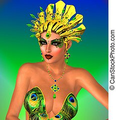 Peacock makeup face and gold crown.