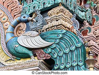 Peacock on the Gopuram of Rathinagiri Hill Temple in...