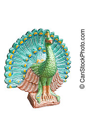 Peacock statue isolated on white background, with clipping path