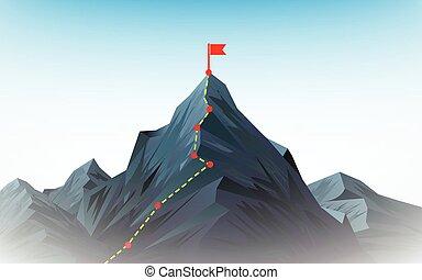 peak., útvonal, mászó, hegy