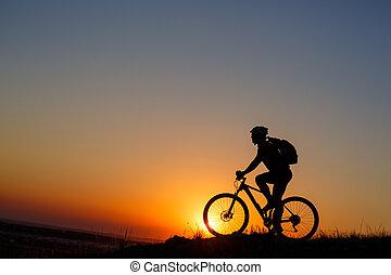peak., гора, велосипед, силуэт, турист
