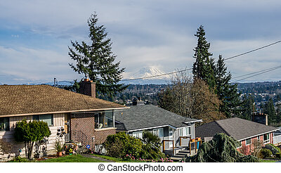 Peak From Des Moines 2 - A view of Mount Rainier from Des ...
