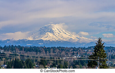 Peak From Des Moines 3 - A view of Mount Rainier from Des ...