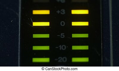 Peak level meters of an analog mixer console - Peak level,...