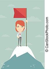 peak., montagne, drapeau, femme affaires