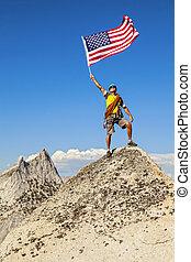 peak., montagne, drapeau, grimpeur, vagues