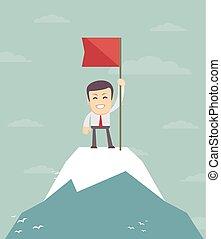 peak., montagne, drapeau, homme affaires