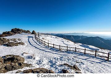 Peak of Deogyusan mountains in winter, South Korea.