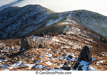 Peak of Deogyusan mountains in winter, South Korea. Winter landscape.